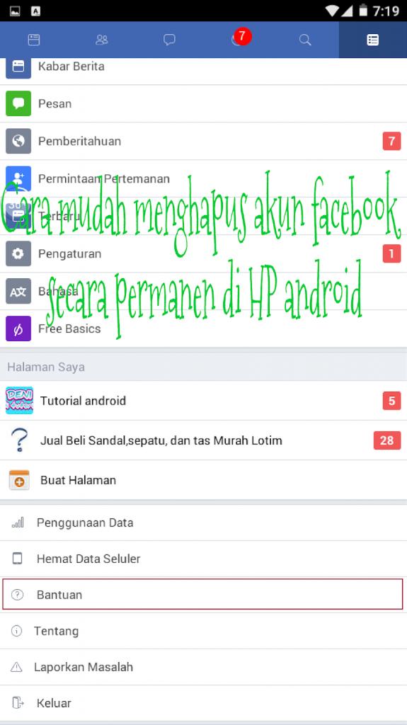 Cara mudah menghapus akun facebook secara permanen di HP android